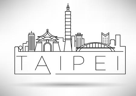 Minimal Vector Taipei City Linear Skyline with Typographic Design  イラスト・ベクター素材