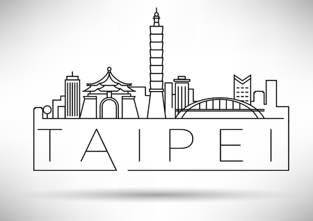 Minimal Vector Taipei City Linear Skyline with Typographic Design Illusztráció