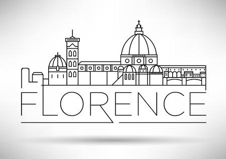 Minimal Vector Firenze City Skyline lineare con design tipografico Vettoriali