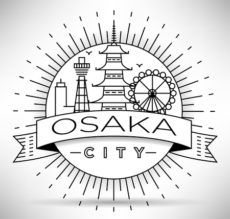 Minimal Vector Osaka City Linear Skyline with Typographic Design Stock fotó - 64820429