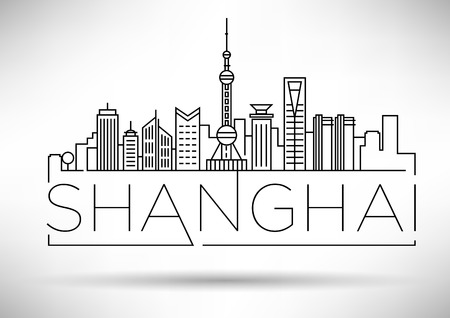 tv tower: Minimal Vector Shanghai City Linear Skyline with Typographic Design Illustration