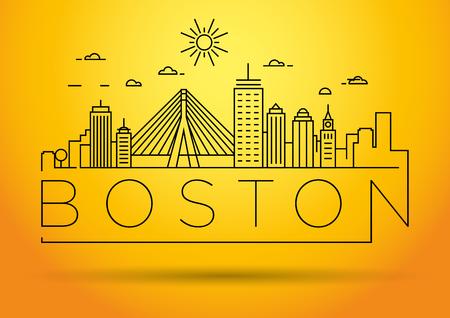 Minimal Boston City Linear Skyline with Typographic Design