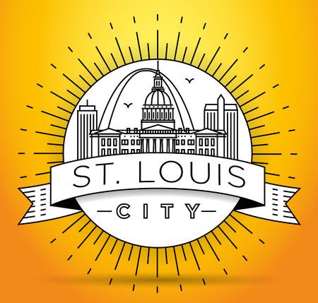 Minimal St. Louis City Linear Skyline with Typographic Design Illustration