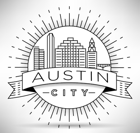 Minimal Austin City Linear Skyline with Typographic Design Illustration