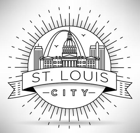 Skyline Minimal St. Louis Stad Linear met Typografische Vormgeving
