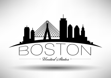 Vector Graphic Design of Boston City Skyline