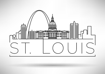 congress: Minimal St. Louis City Linear Skyline with Typographic Design Illustration
