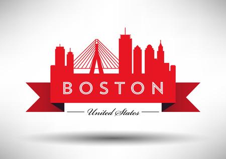 Vector Graphic Design of Boston City Skyline