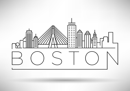 Skyline met typografische ontwerp Minimal Boston Stad Linear Stock Illustratie