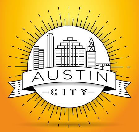 Minimal Austin City Linear Skyline with Typographic Design Illustration