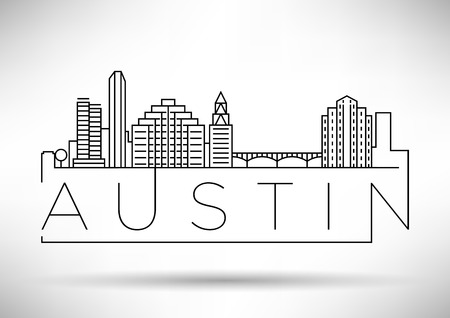 Minimal Austin City Linear Skyline with Typographic Design Stock fotó - 68211152