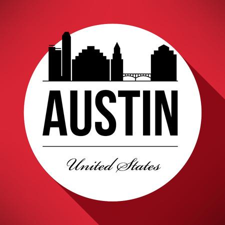 Vector Graphic Design of Austin City Skyline Illustration
