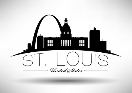 Vector Graphic Design of St. Louis City Skyline Vettoriali