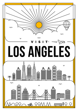 Linear Travel Los Angeles Poster Design
