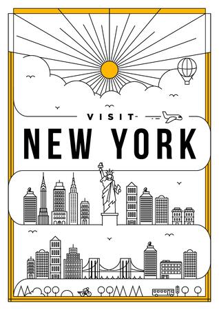 Het Lineaire Poster van de Reis van New York van de Reis