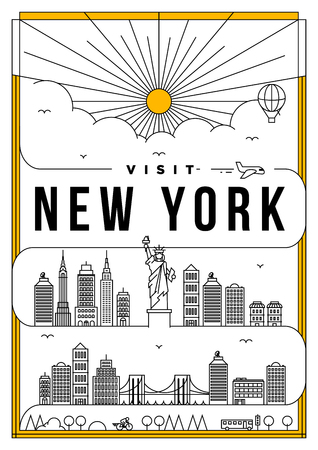 Linear Travel New York Poster Design