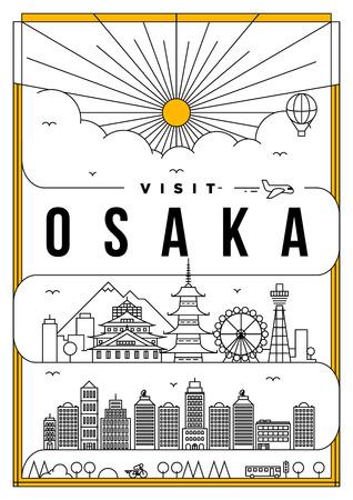 Linear Travel Osaka Poster Design Stock fotó - 68893966