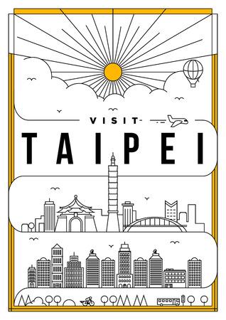 Het Lineaire Poster van de Reis van Taipei van de Reis