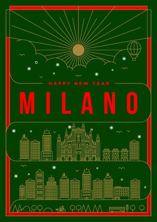 milano: Linear Happy New Year Milano Poster Design