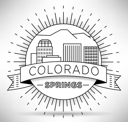 colorado springs: Minimal Colorado Springs Linear City Skyline with Typographic Design