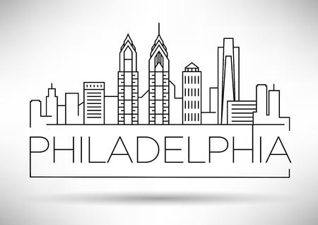 文字体裁デザイン最小限フィラデルフィア線形都市スカイライン