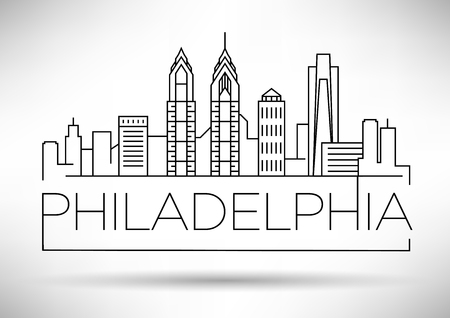 Minimal Philadelphia Linear City Skyline with Typographic Design