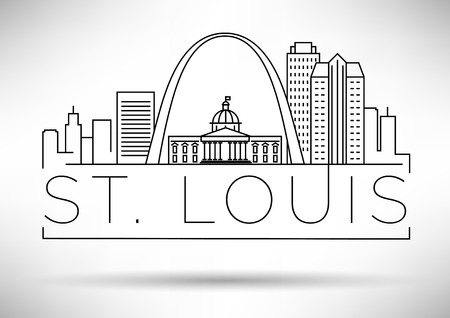 Minimal St. Louis Linear City Skyline with Typographic Design Illustration