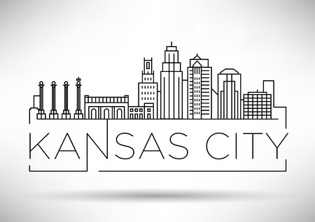 Minimal Kansas Linear City Skyline with Typographic Design