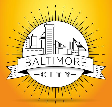 Minimal Baltimore Linear City Skyline with Typographic Design Illustration