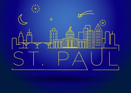 Minimal St. Paul City Linear Skyline with Typographic Design