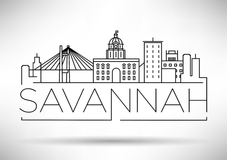 Minimale Savannah Lineaire City Skyline met Typografisch Ontwerp Stock Illustratie