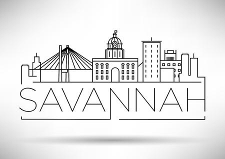 Minimalny panoramę miasta liniowego Savannah z projektem typograficznym