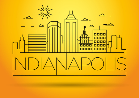 Minimal Indianapolis Linear City Skyline with Typographic Design