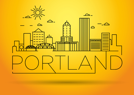 Minimal Portland Linear City Skyline with Typographic Design Illustration