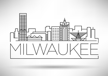 Minimal Milwaukee Linear City Skyline with Typographic Design