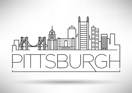 Minimal Pittsburgh Linear City Skyline with Typographic Design