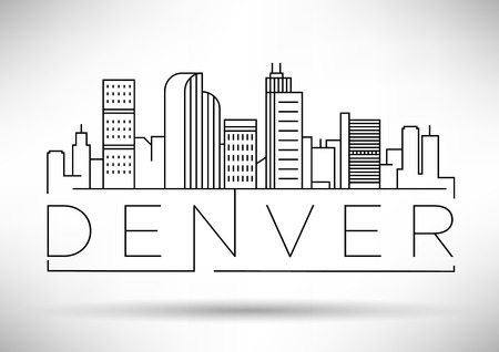 Minimal Denver Linear City Skyline with Typographic Design Illustration