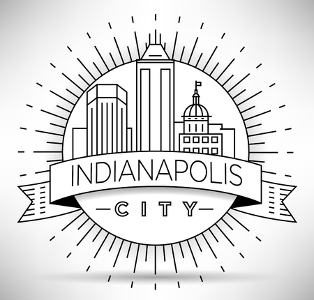indianapolis: Minimal Indianapolis Linear City Skyline with Typographic Design