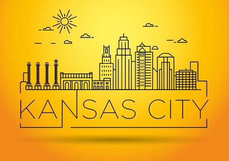 Horizonte lineal minimalista de la ciudad de Kansas con diseño tipográfico