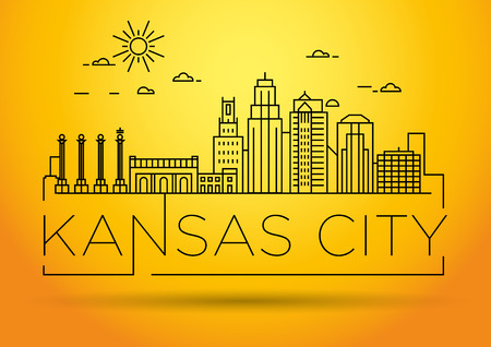 Minimal Kansas Linear City Skyline with Typographic Design Banco de Imagens - 74462324