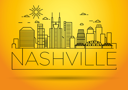 tn  tennessee: Minimal Nashville Linear City Skyline with Typographic Design Vectores