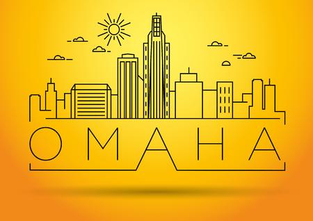 nebraska: Minimal Omaha Linear City Skyline with Typographic Design
