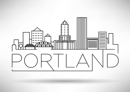 Minimal Portland Linear City Skyline with Typographic Design Illustration