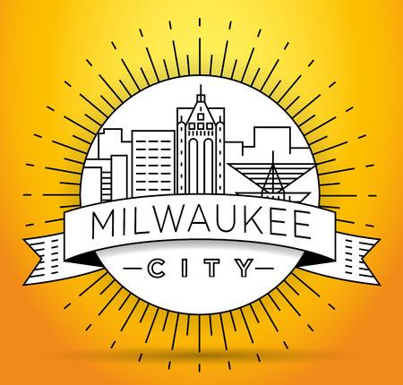 Minimal Milwaukee Linear City Skyline with Typographic Design Stock fotó - 74462353