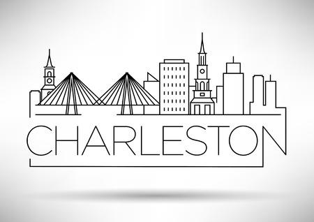 Minimal Charleston Linear City Skyline with Typographic Design