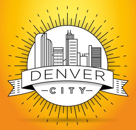 Minimal Denver Linear City Skyline with Typographic Design Illustration
