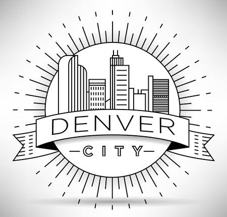 denver buildings: Minimal Denver Linear City Skyline with Typographic Design Illustration