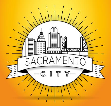 Minimal Sacramento Linear City Skyline with Typographic Design