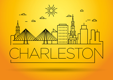 Minimal Charleston Linear City Skyline with Typographic Design Stock fotó - 74462422