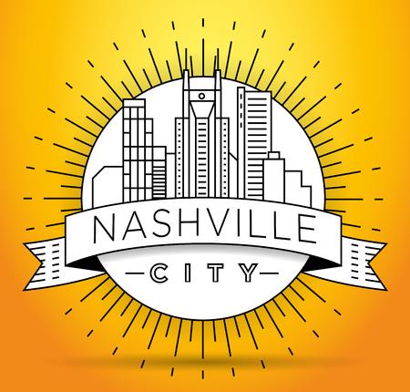 Minimal Nashville Linear City Skyline with Typographic Design Stock fotó - 74462494
